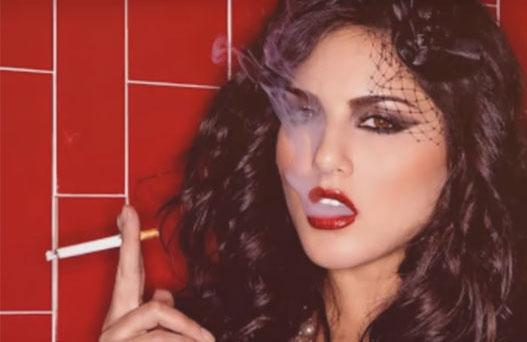 Sunny Leone Bollywood Celebrity Porn Star Smoking Cigarette Cigar
