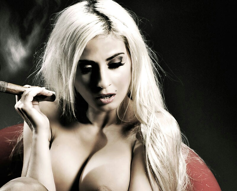 100 blonde cigar smoker lady