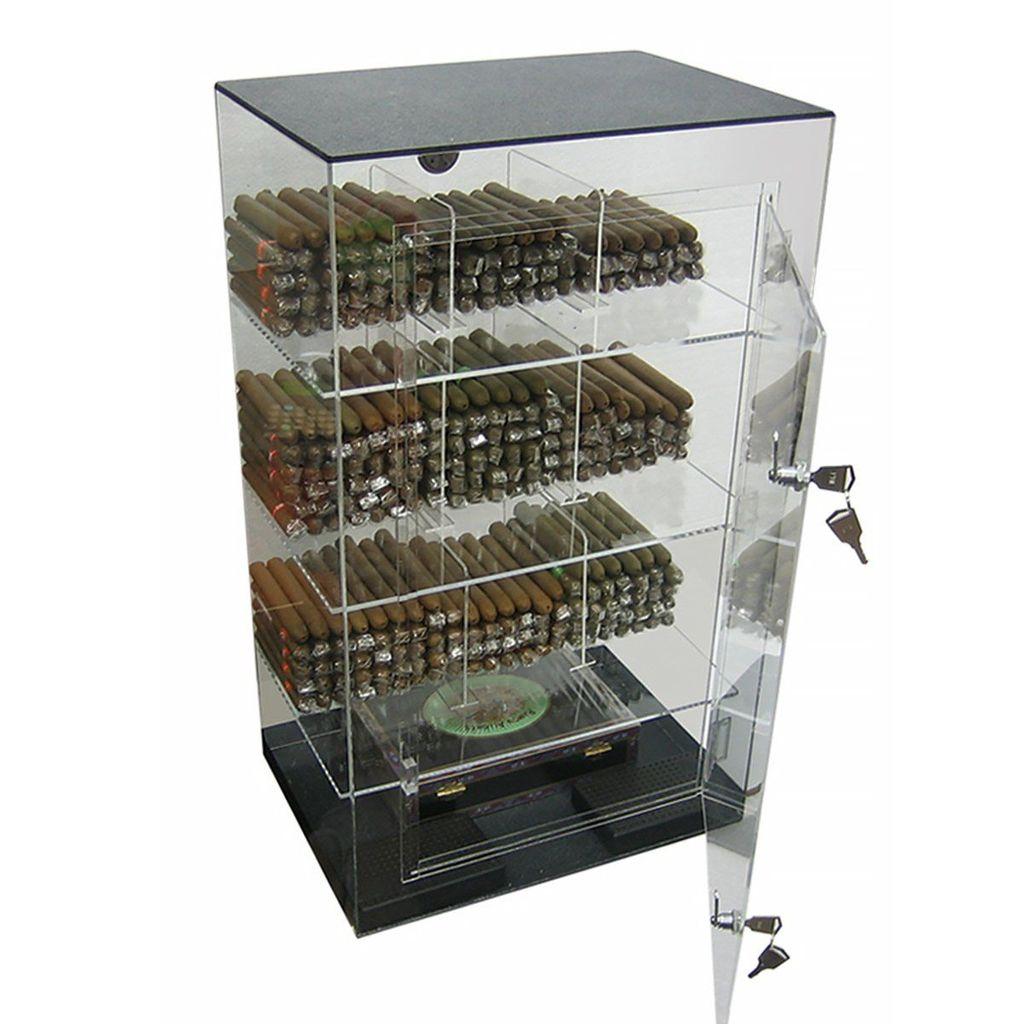 Shades-Of-Havana-Roosevelt-Acrylic-Display-Cigar-Humidor-Cabinet-Holds-250-Cigars-Retail-Store-Humidifier-9-Bins-Hygrometer-